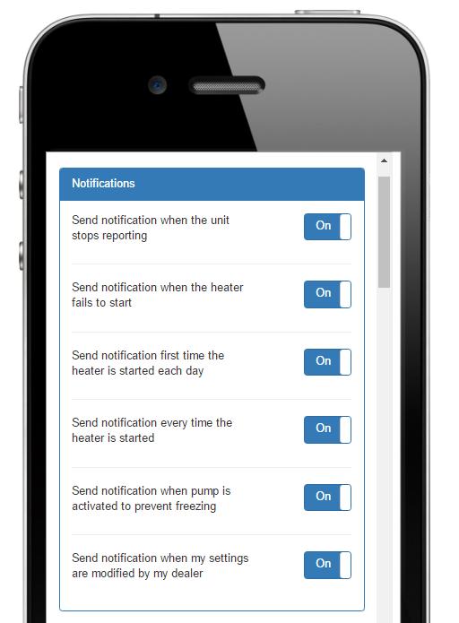 HeaterReader App Notification Settings