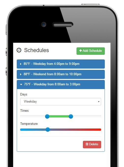 HeaterReader Swimming Pool App - Scheduling